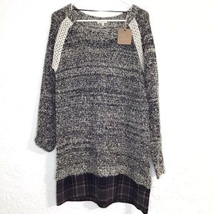 NWT boutique sweater lace and plaid dress size m/l